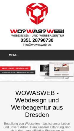Vorschau der mobilen Webseite www.wowasweb.de, WOWASWEB