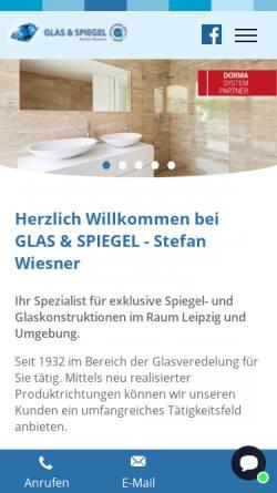 Vorschau der mobilen Webseite www.glas-spiegel-shop.de, Glas & Spiegel Stefan Wiesner
