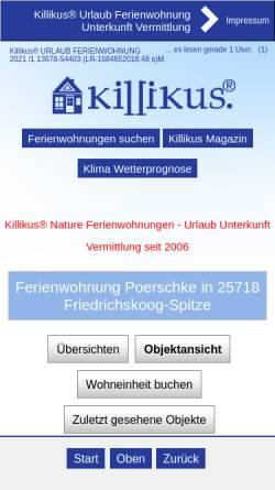 Vorschau der mobilen Webseite www.killikus-ferienwohnungen.de, Ferienwohnung Poerschke