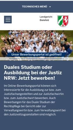Vorschau der mobilen Webseite www.lg-bielefeld.nrw.de, Landgericht Bielefeld