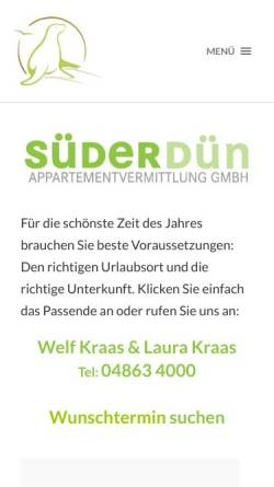 Vorschau der mobilen Webseite www.fewo-stpeter.de, Süderdün Appartementvermittlung GmbH