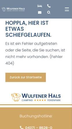 Vorschau der mobilen Webseite www.wulfenerhals.de, Camping Wulfener Hals