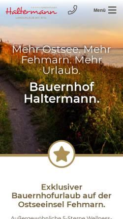 Vorschau der mobilen Webseite www.haltermann-fehmarn.de, Bauernhof Haltermann