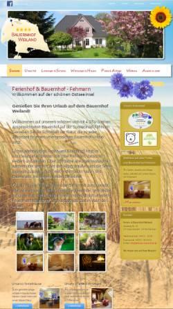 Vorschau der mobilen Webseite www.fehmarn-bauernhof.de, Bauernhof Weiland