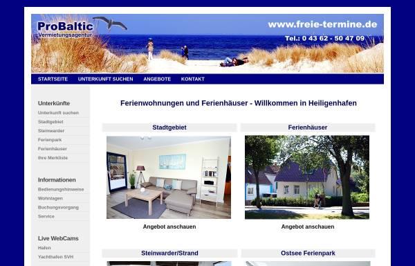Vorschau von www.freie-termine.de, ProBaltic Vermietungsagentur