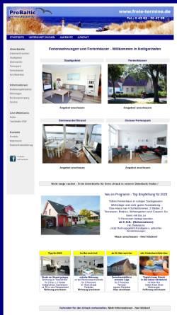Vorschau der mobilen Webseite www.freie-termine.de, ProBaltic Vermietungsagentur