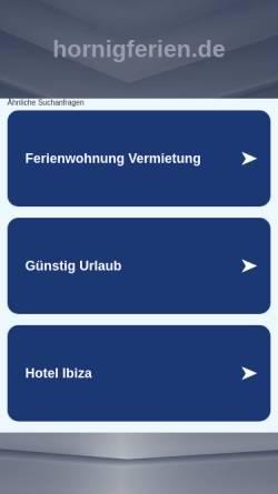 Vorschau der mobilen Webseite www.hornigferien.de, Ferien im olen Fischerhus