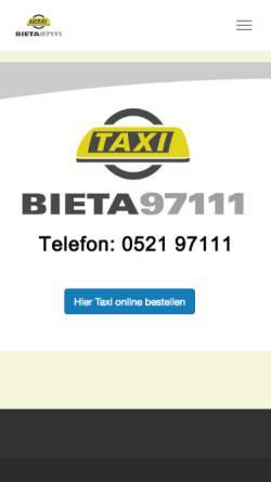 Vorschau der mobilen Webseite bieta.de, Bielefelder Funk-Taxi-Zentrale e.G.