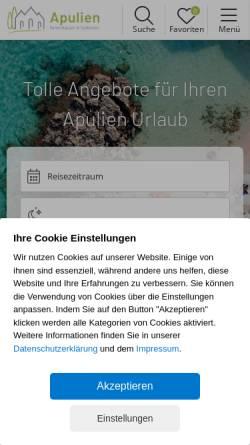 Vorschau der mobilen Webseite www.apulien-reisen.de, Apulien-Reisen