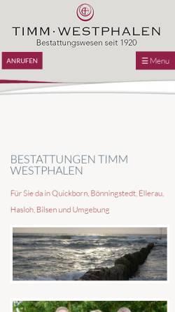 Vorschau der mobilen Webseite www.bestattungswesen-timm.de, Timm Westphalen - Bestattungswesen seit 1920