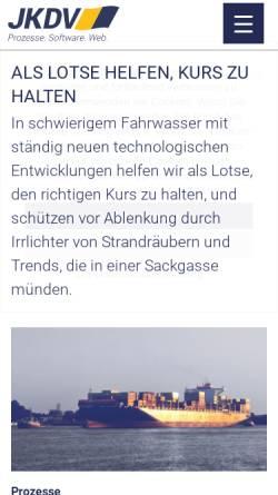 Vorschau der mobilen Webseite www.jkdv.de, JK DV-Systeme GmbH