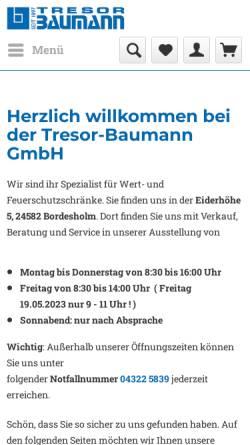 Vorschau der mobilen Webseite www.tresor-baumann.de, Tresor-Baumann GmbH