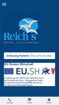 Vorschau der mobilen Webseite www.hotel-gluecksburg.de, Reichs Hotel Glücksburg