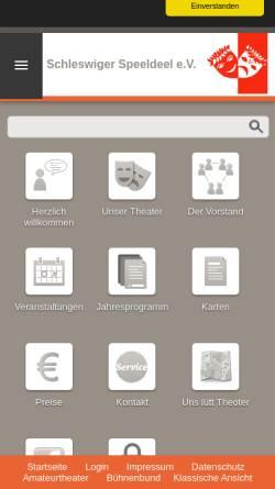 Vorschau der mobilen Webseite www.schleswiger-speeldeel.de, Schleswiger Speeldeel