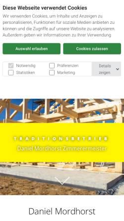 Vorschau der mobilen Webseite www.zimmerei-mordhorst.de, Zimmerei Mordhorst