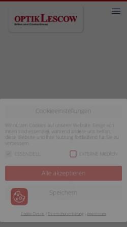 Vorschau der mobilen Webseite www.optik-lescow.de, Optik Lescow