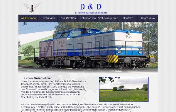 Vorschau von www.dud-eisenbahn.de, D & D Eisenbahngesellschaft mbH