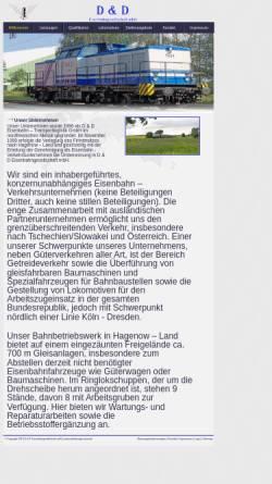 Vorschau der mobilen Webseite www.dud-eisenbahn.de, D & D Eisenbahngesellschaft mbH