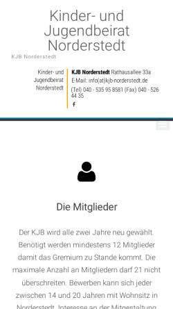 Vorschau der mobilen Webseite www.kjb-norderstedt.de, Kinder- und Jugendbeirat Norderstedt