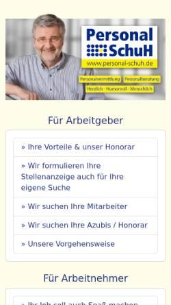 Vorschau der mobilen Webseite www.personal-schuh.de, Personal Schuh