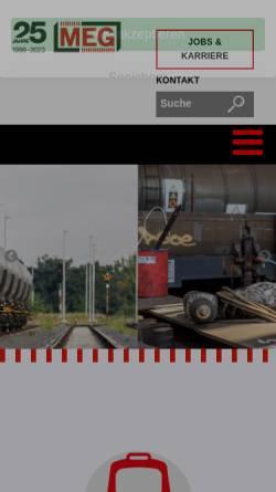 Vorschau der mobilen Webseite www.meg-bahn.de, MEG Mitteldeutsche Eisenbahn GmbH
