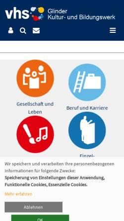 Vorschau der mobilen Webseite www.vhs-glinde.de, Volkshochschule Glinde