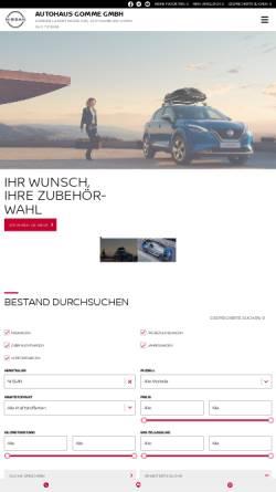 Vorschau der mobilen Webseite www.gomme.de, Autohaus Gomme - Nissan
