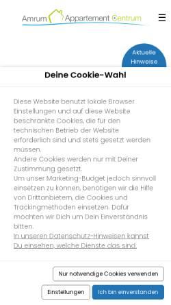 Vorschau der mobilen Webseite www.insel-amrum.org, Amrum Appartement Centrum