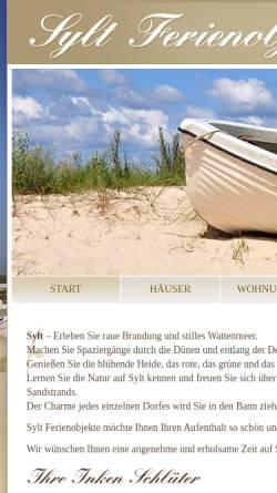 Vorschau der mobilen Webseite sylt-ferienobjekte.de, Sylt Ferienobjekte, Inken Schlüter