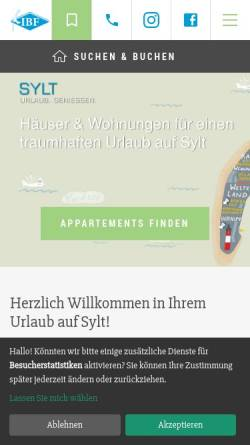 Vorschau der mobilen Webseite www.ibf-sylt.de, IBF Sylt