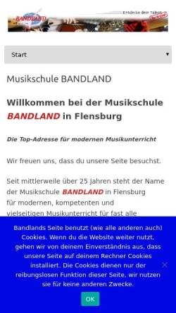 Vorschau der mobilen Webseite www.bandland.de, Musikschule Bandland