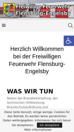 Vorschau der mobilen Webseite www.feuerwehr-engelsby.de, Freiwillige Feuerwehr Flensburg-Engelsby