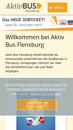Vorschau der mobilen Webseite www.aktiv-bus.de, Stadtbus Flensburg