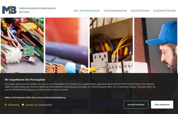 Vorschau von mb-tele-kiel.de, MB Telekommunikation & Elektrotechnik Kiel GmbH