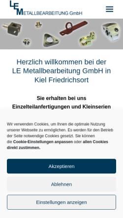 Vorschau der mobilen Webseite www.le-metallbearbeitung.de, LE Metallbearbeitung GmbH