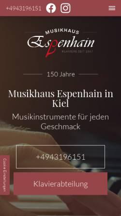 Vorschau der mobilen Webseite www.musikhausespenhain.de, Musikhaus Espenhain