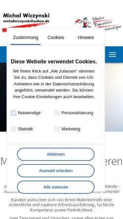 Vorschau der mobilen Webseite www.malermicha.de, Maler Michal Wiczynski