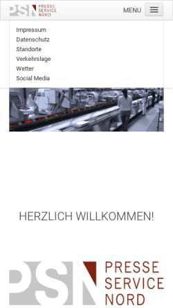 Vorschau der mobilen Webseite www.psnord.de, Presseservice Nord GmbH & Co. KG