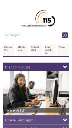 Vorschau der mobilen Webseite www.115.de, 115 - Geschäfts- und Koordinierungsstelle im Bundesministerium des Innern