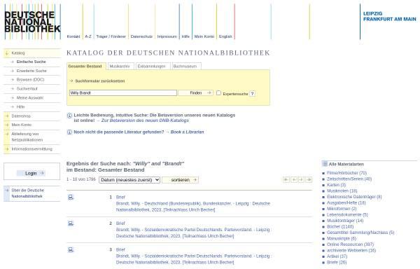 Vorschau von portal.dnb.de, Online-Katalog der Deutschen National Bibliothek