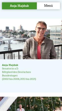 Vorschau der mobilen Webseite www.anja-hajduk.de, Hajduk, Anja (MdB)