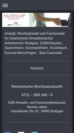 Vorschau der mobilen Webseite www.arbeitsrechtler-stuttgart.de, Kanzlei für Arbeitsrecht