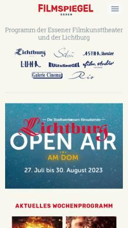 Vorschau der mobilen Webseite www.lichtburg-essen.de, Lichtburg Filmtheater GmbH
