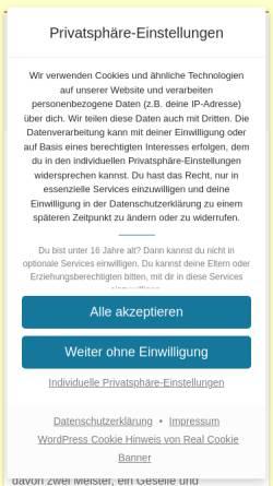 Vorschau der mobilen Webseite www.tischlerei-beyer.de, Tischlerei Hartmut und Jürgen Beyer