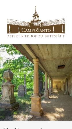 Vorschau der mobilen Webseite www.alter-friedhof-buttstaedt.de, Alter Friedhof zu Buttstädt - Camposanto
