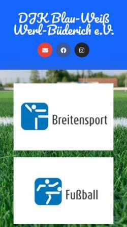 Vorschau der mobilen Webseite www.blau-weiss-buederich.de, DJK-Blau-Weiß / Werl-Büderich e. V.