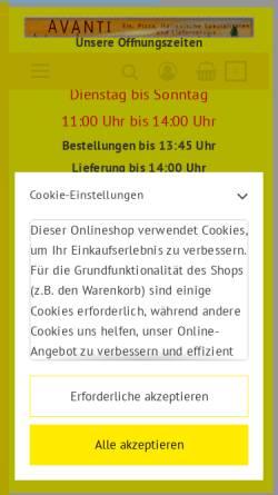 Vorschau der mobilen Webseite avanti-apolda.de, Pizzeria Avanti Inh. Florim Zogaj