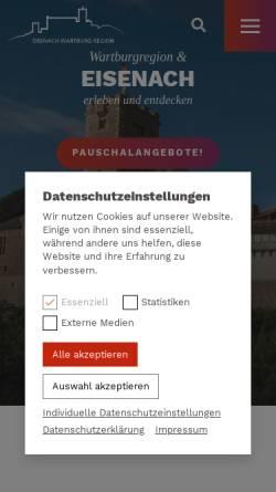 Vorschau der mobilen Webseite www.eisenach.info, Tourist-Information Eisenach Wartburg Region