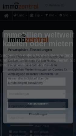Vorschau der mobilen Webseite www.immozentral.com, Immozentral by Peter Czaplicki