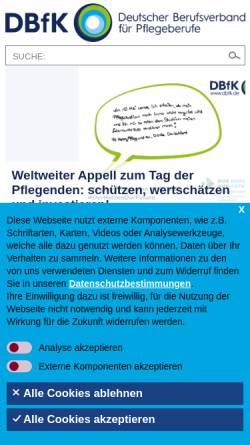 Vorschau der mobilen Webseite www.dbfk.de, Deutscher Berufsverband für Pflegeberufe e.V. (DBFK)